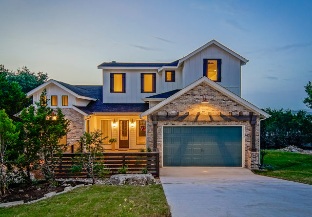 Sinclair-Agave-Custom-Homes-Spicewood-TX-Front-Elevation-with-Lake-View